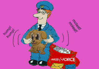 The classic 'Postman Pat bumming a dog' illustration from the 15/11/2001 LFF Diary. I'll start using new pictures tomorrow, promise