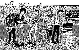 Illustration from the original Trumpton Riots EP, the closest we've ever got to HMHB including a picture of themselves on their record sleeves...