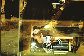 Scott Walker, apparently hiding under the orchestra pit, during rehearsals for Drifting And Tilting