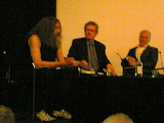 Shitty photo of (left to right) Alan Moore, Christopher Frayling and Kevin O'Neill. It's the best quality my phone was capable of at that distance, sorry. Much better photos can be found in the June 3rd 2009 entry on joelm1-joelmead.blogspot.com