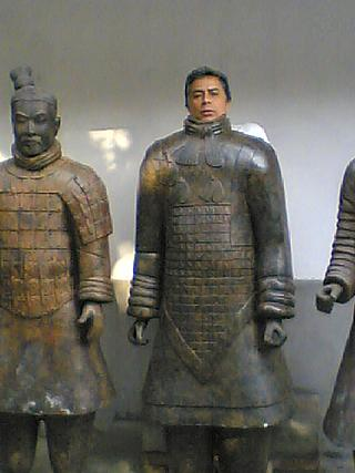 And in his spare time, he impersonates terracotta warriors.
