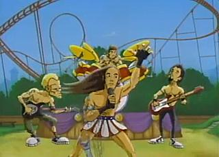 Cartoon pop stars, #1 of 2: Red Hot Chili Peppers and their Love Rollercoaster, from the video directed by Kevin Lofton and Mike Judge