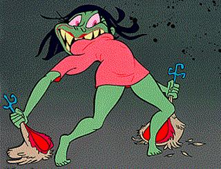 Cartoon pop stars, #2 of 2: Bjork tearing a chicken in half, in John 'Ren & Stimpy' Kricfalusi's video for 'I Miss You'