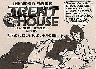 Advert for the Trent House pub, as seen in Viz comic circa 1986