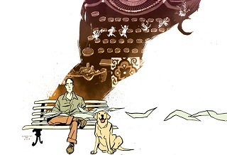 Brás de Oliva Domingos sees a man about a dog, in Gabriel Bá's cover for the Daytripper collection