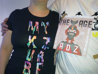 """It's my fault. """"Let's get t-shirts from each of our gigs and wear them in a photo,"""" I said. And then I found out that the current Sufjan Stevens tour t-shirt is rubbish, so I had to improvise something quickly. Sorry."""