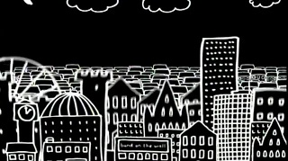 Manchester skyline as seen by Mr Scruff: note Band On The Wall in the centre foreground
