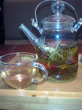 It's some sort of flowering tea. Don't ask me to be specific, there were a couple of dozen on the menu.