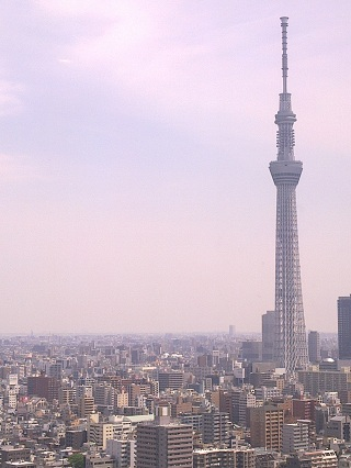 Tokyo skyline, plus its latest addition, as seen from the restaurant at Dai-Ichi Ryogoku