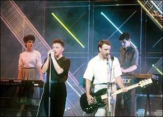 New Order, looking overjoyed at the prospect of playing on Top Of The Pops