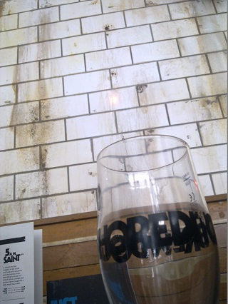 A souvenir glass from BrewDog Horeditc