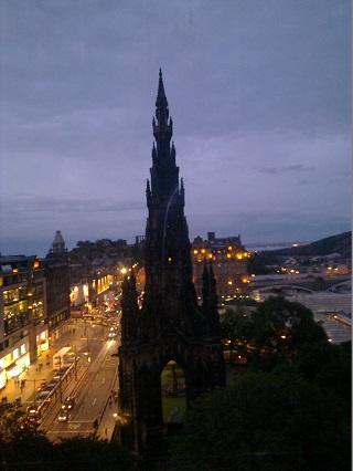 Princes Street, as seen from the top of the Festival Wheel. Yes, I was as surprised as you are to discover that the Scott Monument leans to one side like that.