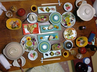 Christmas Eve dinner in our room at Yusaya, Naruko Onsen. The BBG is included at the bottom of the picture for scale.