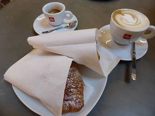 Not the best breakfast we had in Bologna, but the most traditionally Italian, and the only one that The Belated Birthday Girl took a photo of. Coffee and pastries at Centrale del Gusto in the Mercato di Mezzo.