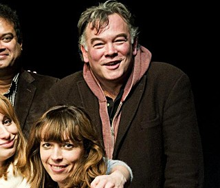 Stewart Lee and Bridget Christie. Apologies to the crudely bisected Paul Sinha and Isy Suttie, but it's the only way I could get a picture of the two of them together.