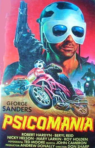 If you believe the Spanish poster art for Psychomania, this is apparently what George Sanders looks like. As you'll see if you read the MostlyFilm piece, this is astonishingly only the *second* most inaccurate piece of promotional art associated with the film.