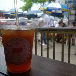 Unusually, a shot from the inside of the Pink Pig that's centred on iced tea rather than local beer