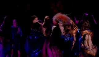My favourite shot from the LFF 2014 trailer: the bit from 'Biophilia Live' where Bjork is approached by her entire backing choir from all directions, and her head goes into this delightfully crazy wobble. Doesn't really work as a still framegrab, I guess. Sorry.