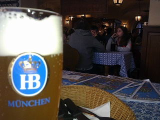 A balanced meal at the Hofbrauhaus. (Pretzels not included.)