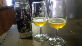 Two glasses of Heady Topper, just to show you how cloudy beers were all the rage at Hop City. (Another proposed name for BrewDog's own beer in the same style: Murky McMurkface.)