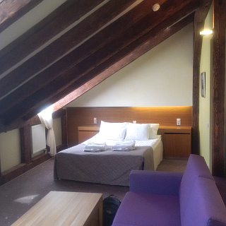 The double deluxe suite at the Bern Hotel. Surprisingly, over the course of three days I only managed to bang my head on the roof beams once.