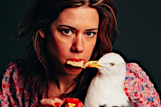 Lou Sanders demonstrates one of the typical hazards you encounter when dining in Edinburgh.