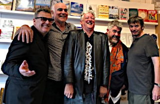 Two birds with one wossname: Greg Proops, Steve Frost, Andy Smart, Phill Jupitus and Ian Rankin at the launch of Andy's book 'A Hitch In Time' (AA Media, £9.99)