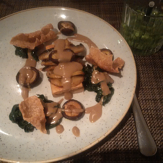 Vanilla is the new Black: warm mushroom pate with lemon and rice, accompanied by field mushrooms and spinach