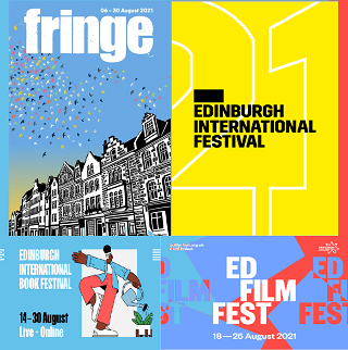 The traditional Pile O'Programmes picture for Edinburgh 2021, even though most of them only exist in online form. (The Fringe one isn't even a programme - for the second year running, it's a book full of blank pages sold as a notebook to benefit the Fringe Society at https://shop.edfringe.com/collections/2021-merchandise/products/2021fringe-programme-blank )