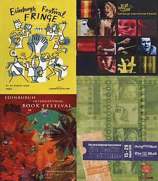 1999 programme covers, clockwise from top left: Fringe, International, Film and Book Festivals
