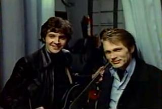 David Essex and Adam Faith in Stardust. Not pictured: a couple of birds with big tits that they're looking at.