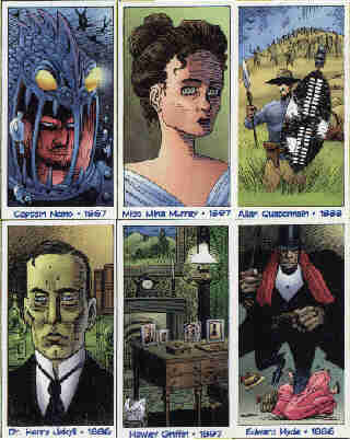 The League Of Extraordinary Gentlemen. Collect the set! Clockwise from top left: Captain Nemo (1867), Miss Mina Murray (1897), Allan Quatermain (1888), Edward Hyde (1886), Hawley Griffin (1897), Dr Henry Jekyll (1886).