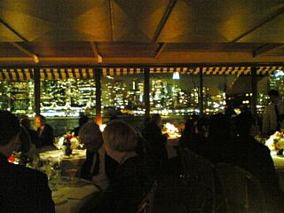 View from a barge: The River Cafe, looking across to Manhattan