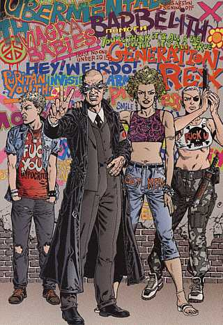 Chris Weston's vision of the Invisibles, from the final page of Volume 2. Jack, KM, Fanny and Jolly Roger