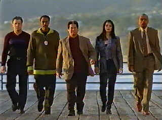 The crew, or at least how they stood at the end of Season 1. Left to right: Louis Mandylor (Louis Malone), Arsenio Hall (Terrell Parker), Sammo Hung (Sammo Law), Kelly Hu (Grace Chen), Tom Wright (Ben Winship)