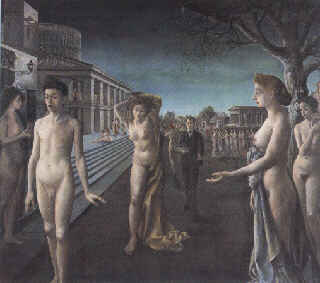 'Dawn Over The City' by Paul Delvaux. Too good to be mashed into a 320 pixel-wide image, unfortunately.