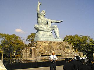 The Nagasaki Peace Statue, somewhat unfairly compared to a giant traffic cop by Kazuo Ishiguro