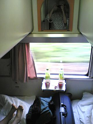 Sleeper carriage, somewhere nearer to Ueno than Toya. Photographer is wearing natty yukata with the JR logo printed all over it.
